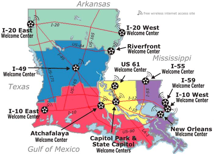 louisiana welcome center-map